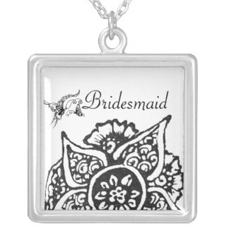 Butterfly with Flower(Henna) Silver Plated Necklace