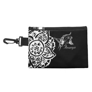 Butterfly with Flower(Henna)(White) Accessories Bag