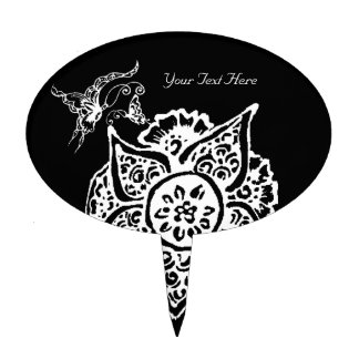 Butterfly with Flower(Henna)(White) Cake Topper