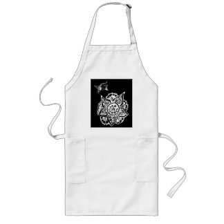 Butterfly with Flower(Henna)(White) Long Apron