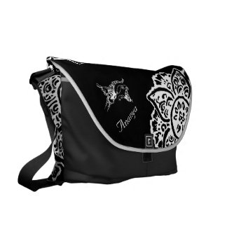 Butterfly with Flower(Henna)(White) Messenger Bag