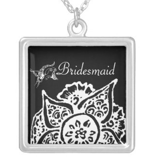 Butterfly with Flower(Henna)(White) Silver Plated Necklace