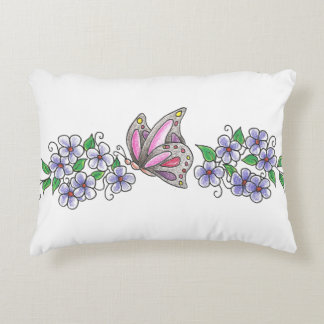 butterfly with flowers blk accent pillow