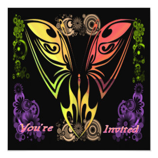 Butterfly with Flowers Invitation