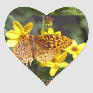 Butterfly with Flowers Photo Heart Sticker