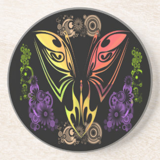 Butterfly with Flowers Sandstone Coaster