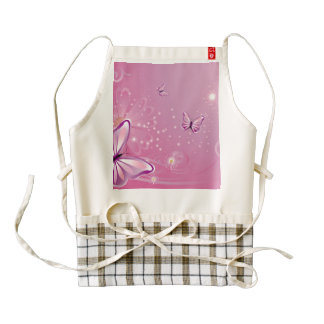 Butterfly with flowers zazzle HEART apron