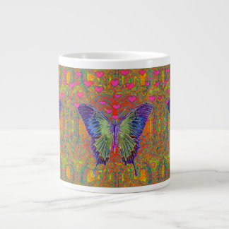 Butterfly with heart shaped patterns giant coffee mug