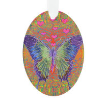 Butterfly with heart shaped patterns ornament