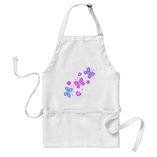 butterfly with hearts adult apron