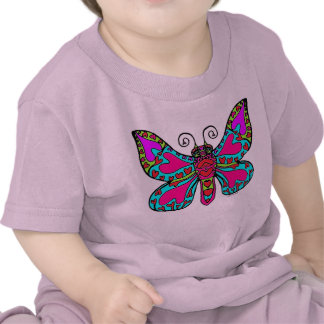 Butterfly with Hearts in Pink & Blue T Shirts