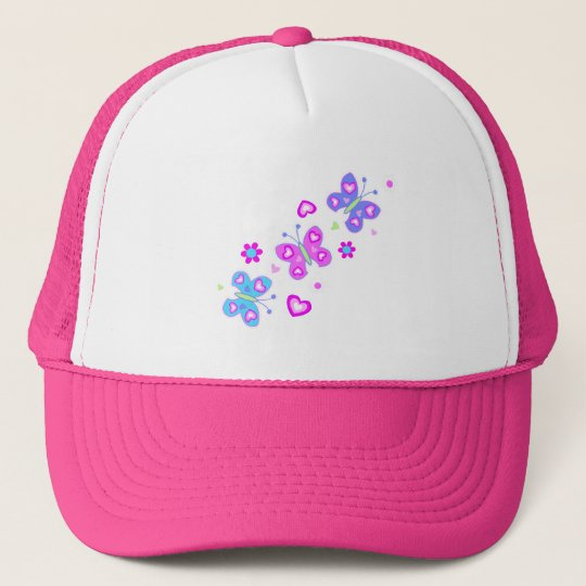 butterfly with hearts trucker hat