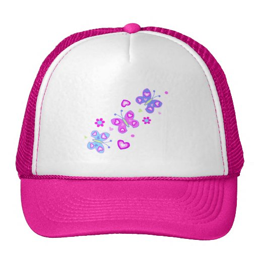 butterfly with hearts trucker hats