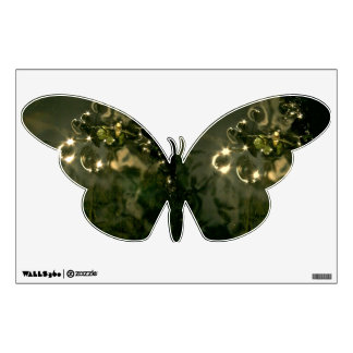 BUTTERFLY WITH INSECTS ABSTRACT PATTERN WALL DECAL