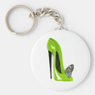 Butterfly with Lime Green Stiletto Shoe Art Design Key Chains