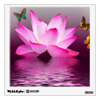 Butterfly with Lotus Flower Wall Sticker