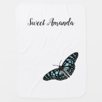 Butterfly With Name - Baby Blanket