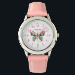 """Butterfly with Name Watch<br><div class=""""desc"""">This watch is designed with a multi color butterfly in the center,  and can be customized with a name or text of your choice. Makes a great watch for anyone thats just learning to tell time,  and who loves butterflies!</div>"""