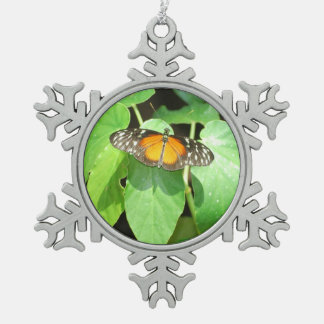Butterfly With Open Wings Snowflake Pewter Christmas Ornament