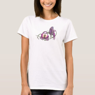 Butterfly with Orchid Fitted Baby Doll T-Shirt