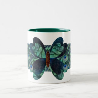 Butterfly with Peacock Eyes Two-Tone Coffee Mug