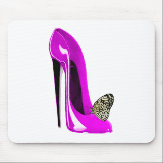 Butterfly with Pink Stiletto Shoe Art Mouse Pad