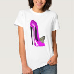 Butterfly with Pink Stiletto Shoe Art Tee Shirt