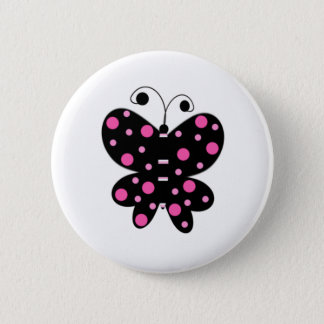 Butterfly With Polka Dots Pinback Button