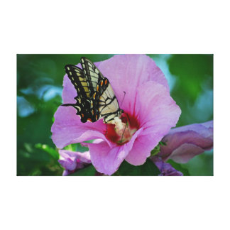 Butterfly with Purple Flower Canvas Print