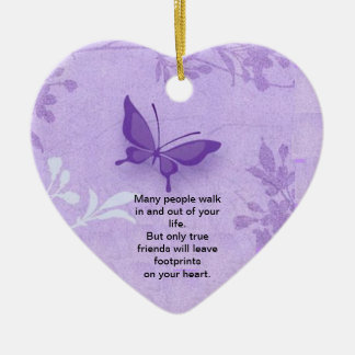 Butterfly with true friends saying ceramic ornament
