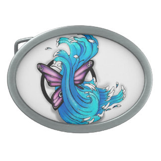 Butterfly with Waves Belt Buckle
