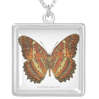 Butterfly with wings spread silver plated necklace