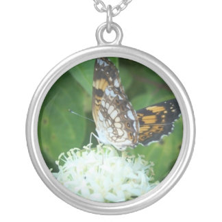 Butterfly with wings up round pendant necklace