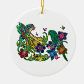 Butterfly Woman Floral & Bird Double-Sided Ceramic Round Christmas Ornament