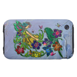 Butterfly Woman Floral & Bird iPhone 3 Tough Case