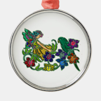 Butterfly Woman Floral & Bird Round Metal Christmas Ornament