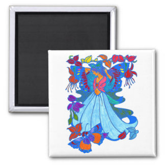 Butterfly Woman Floral Design 2 Inch Square Magnet