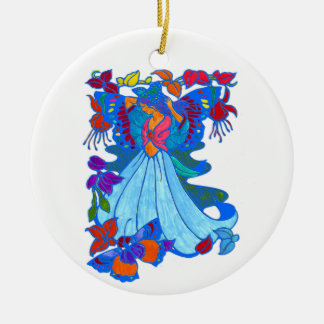 Butterfly Woman Floral Design Double-Sided Ceramic Round Christmas Ornament