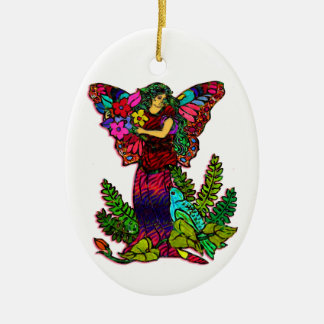 Butterfly Woman Floral Double-Sided Oval Ceramic Christmas Ornament
