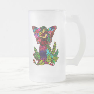 Butterfly Woman Floral Frosted Glass Beer Mug