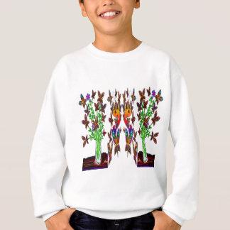 Butterfly Woman Flowers Three Plants Apparel Lands Sweatshirt
