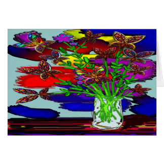 Butterfly Woman Flowers Two Greeting Card Left Lan
