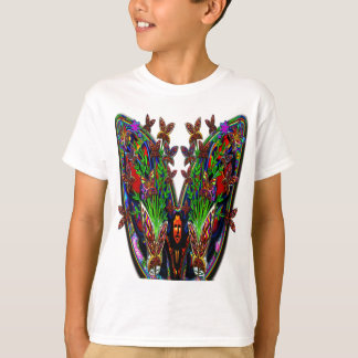 Butterfly Woman Flowers Vase Set Clear Background T-Shirt