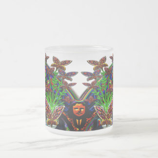 Butterfly Woman Flowers Vase Set Frosted Glass Coffee Mug