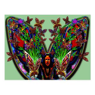 Butterfly Woman Flowers Vase Set Postcard