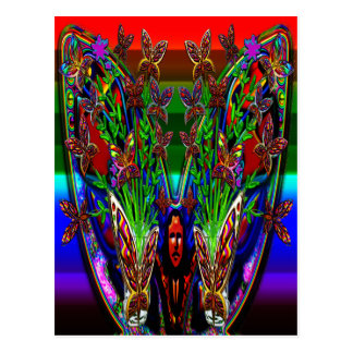 Butterfly Woman Flowers Vase Set Postcard