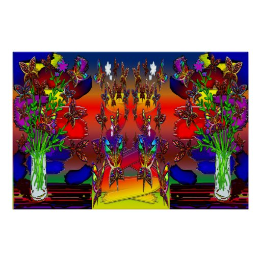 Butterfly Woman Flying Budda Plants Landscape Prin Posters