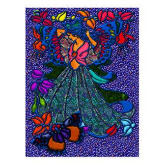 Butterfly Woman Holding Flowers Postcard
