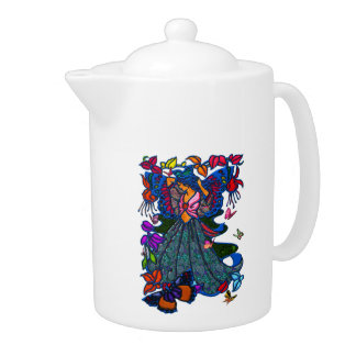 Butterfly Woman in Paisley Circled by Butterflies Teapot