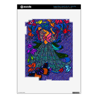 Butterfly Woman in Paisley Dress Decals For iPad 3